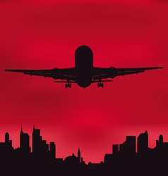 The plane against the night city vector image vector image