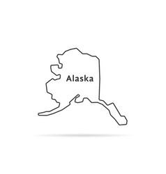 thin line alaska map with shadow vector image