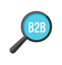 b2b word magnifying glass vector image