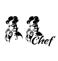 monochrome with chef for menu vector image
