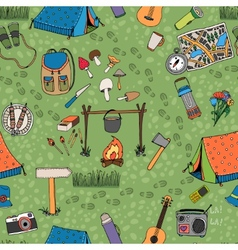 Seamless camping background pattern vector image vector image