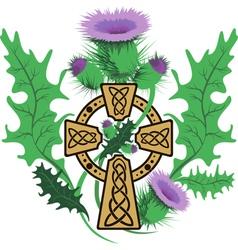 stylized Celtic cross framed thistle flowers vector image vector image