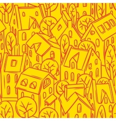 City seamless pattern with roofs vector image