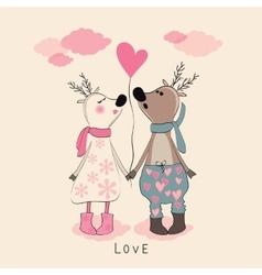 Pair of deers at Valentines day vector image