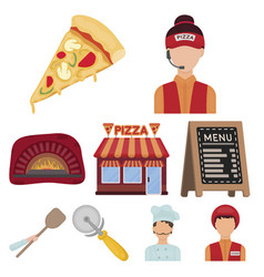 pizza and pizzeria set icons in cartoon style big vector image