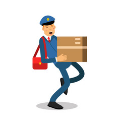 Postman in blue uniform with red bag carrying a vector