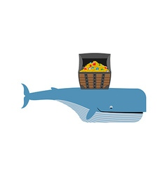 Sperm whale and pirate treasure Blue whale and vector image vector image
