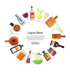 alcoholic drinks in glasses and bottles vector image vector image