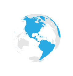 earth globe with blue world map focused on vector image vector image