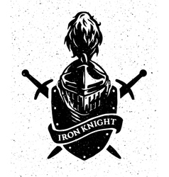 Knight helmet on a background of the shield and vector image vector image