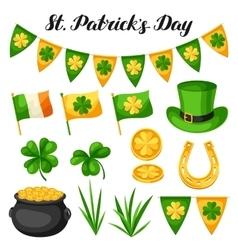 Saint Patricks Day objects Flag Ireland pot of vector image vector image