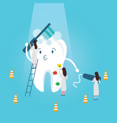 teeth protection character funny brushing it self vector image vector image