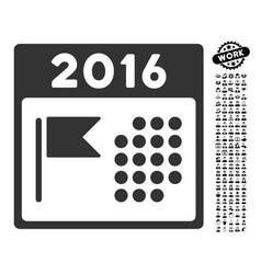 2016 holiday calendar icon with people bonus vector image