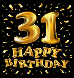 31 years anniversary with gold stylized number vector