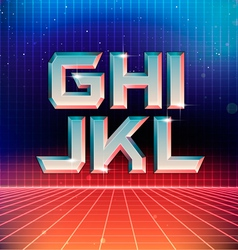 80s Retro Futuristic Font from G to L vector image