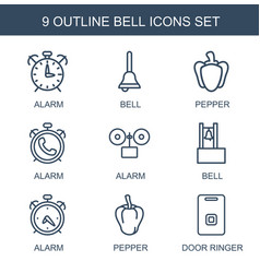 9 bell icons vector