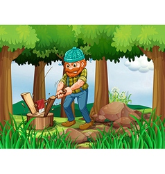 A tired woodman chopping the woods in the forest vector