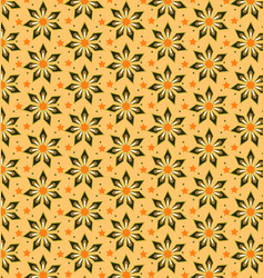 abstract flower pattern yellow brown vector image