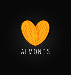 Almonds organic logo design background vector