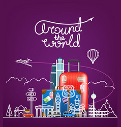 around the world concept with famous sights and vector image