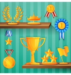Award shelves background vector