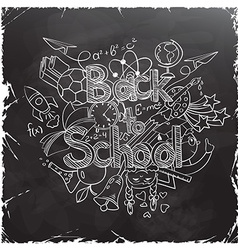 Back to School Scribbles on a Black Chalkboard vector