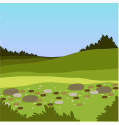 Beautiful valley with hills and stones green vector