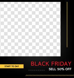 black friday sale banner for social promotion vector image