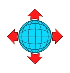 Blue globe and red arrows icon cartoon style vector image