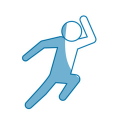 Blue line pictogram man silhouette running concept vector