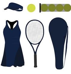 Blue tennis set six items vector image
