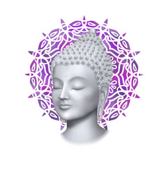 Buddha face with round mandala print vector