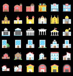 Buildings set flat design editable outline icons vector