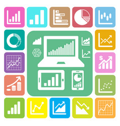 business graph icon set vector image