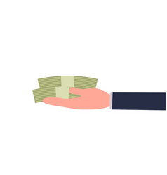 business hand holding money for buying vector image