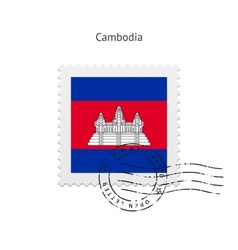 Cambodia flag postage stamp vector
