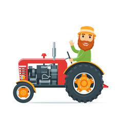 cartoon farmer on tractor vector image