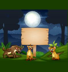cartoon tree hyena enjoying in jungle at night vector image