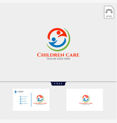 Children care baby care logo template with vector