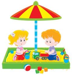 Children play in a sandbox vector image