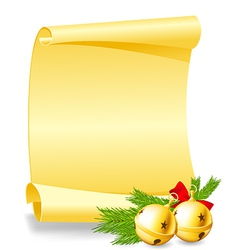 Christmas card - paper scroll wishlist with bells vector