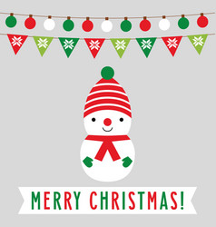 christmas card with a cute cartoon snowman vector image