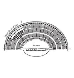 colosseum half plan vintage engraving vector image