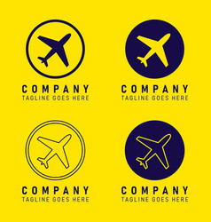 company logo plane icon shape button set vector image