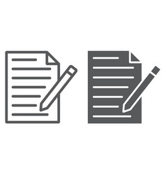 Contact form line glyph icon paper and pen vector