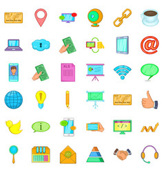 Contact phone icons set cartoon style vector