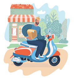 courier man holding box and riding motorbike vector image