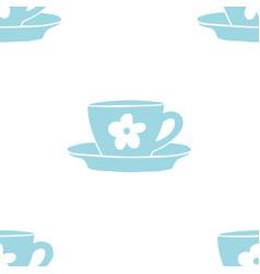 cups mug flower pattern seamless tile vector image