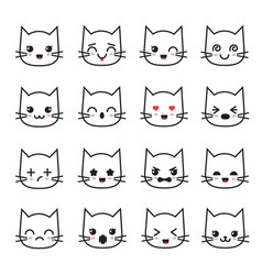 Cute kitten kawaii emoticon collection funny vector