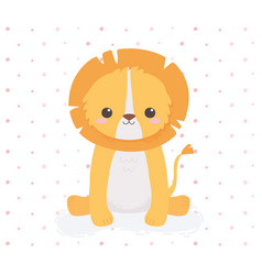 cute lion sitting animal cartoon dotted background vector image